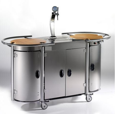 Mobile Bongos Beer Bar, $11,000 Mobile Bongos Beer Bar Turns Any Room Into a Luxury Kitchen