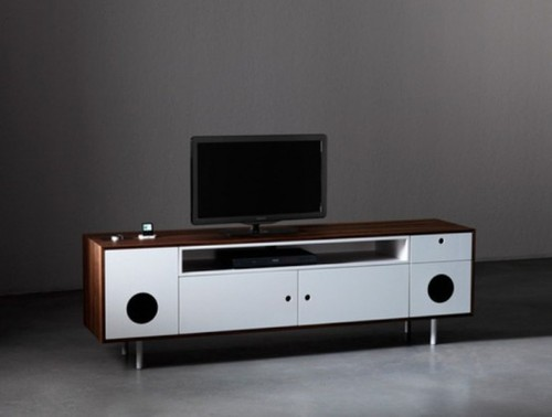 A Console Unit And A Desk With Built In Audio Design