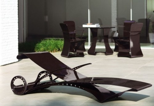 Contemporary Garden Furniture, Futuristic Garden Furniture With Ferrari-Style Lounge Chair