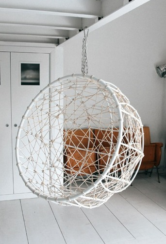 Contemporary Garden Furniture, Hanging Metal Hemisphere Chair For Your Garden