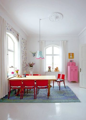 Contemporary Country House, Light House With Colorful Interior And Bright Furniture
