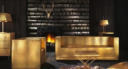 The Midas Touch Collection, The Midas Touch Furniture Collection In Gold And Crocodile Leather