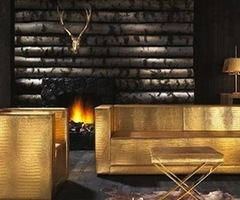 The Midas Touch Furniture Collection In Gold And Crocodile Leather