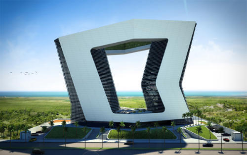 Modern Architecture, 20-Storey GSI Tower in Mexico Will Have Two Terrific Openings In the Middle