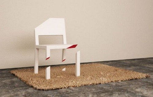 Decorative Chairs, Optical Illusion Chair With Only One Whole Leg