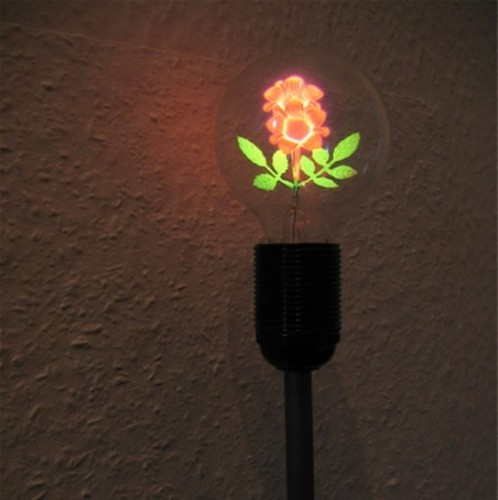 Contemporary Lamp, Lamp With A Flower Inside The Bulb