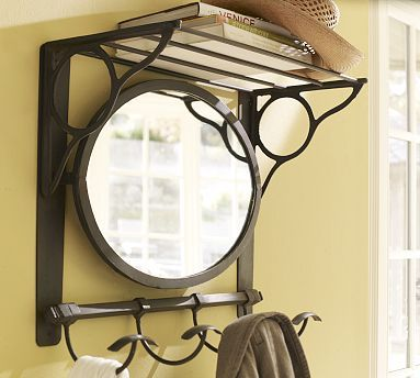 Home Accessories, Vintage Iron Mirror Train Rack