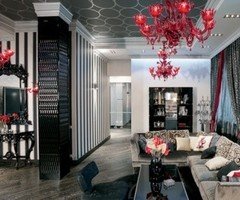 Glamour Apartment Design In Black and Red Tones