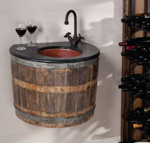 Bathroom Vanity Furniture, Bathroom Furniture Made Of Old Wine Barrels
