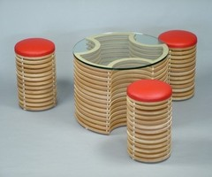 Original Furniture Set: 3D Coffee Table and Stools