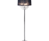 18 pc Crystal Chandelier Floor Lamp Large Black Shade