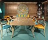 Fresh And Modern Furniture For A Dining Room In Turquoise and Yellow Colors