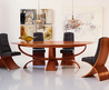 New Living Room: Wood Oval Dining Table