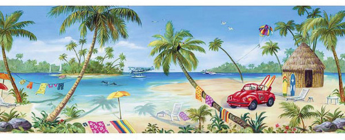 Tropical Wall Mural, Surfing Beach Wall Mural 