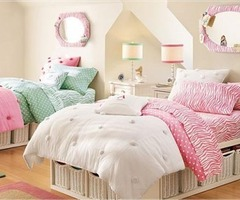 pink teen room designs in wall paint and bed cover 