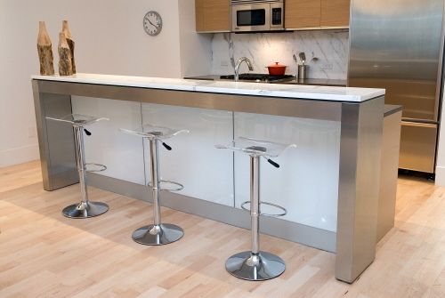 Kitchen Bar Designs, natural looking wooden display cabinet with stainless fixtures