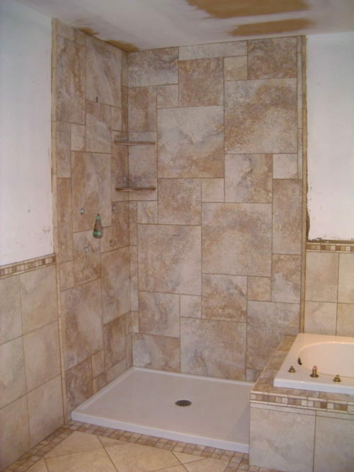 Ceramic tile shower photos building a ceramic tile shower for Bathroom ceramic tile design ideas