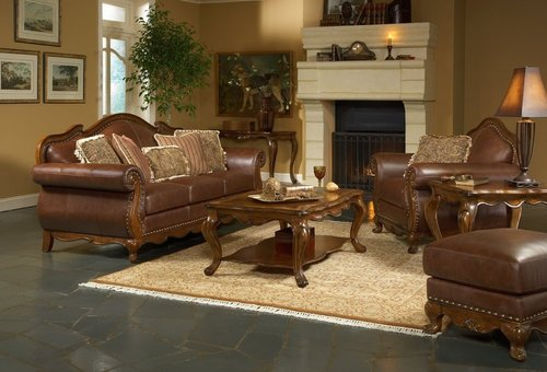 Living Room Furniture, LEATHER LIVING ROOM FURNITURE « 3D