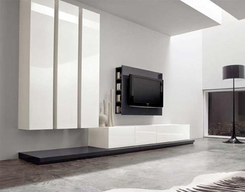 Living Room Furniture Tv, Minimalist Linear Modern Interior Living Room Furniture by DallAgnese 