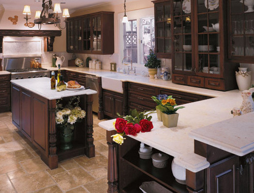 Brown Kitchen Cabinets, Custom Built Homes