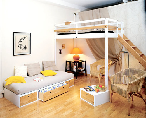 Bedroom home furniture design for small space loft bed by Bedroom design for small space