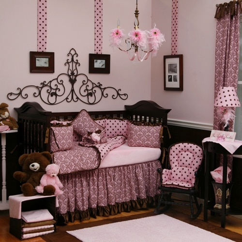 Pink and brown baby girl bedding design bookmark 930 Baby girl bedding