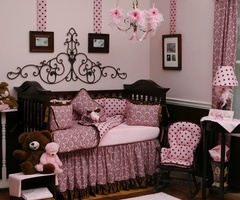 Pink and Brown Baby Girl Bedding