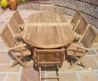 Teak garden furniture sets, teak benches, tree seats, steamers