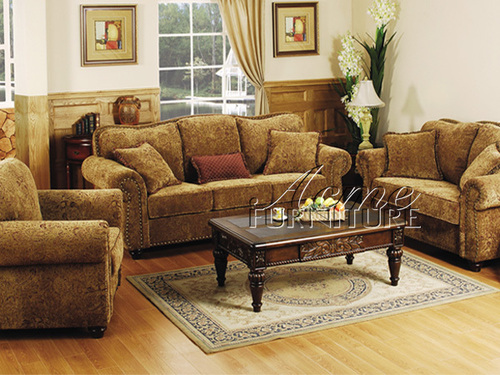 The Furniture Traditional Chenille Living Room Set From Glory Collection By Acme Furniture