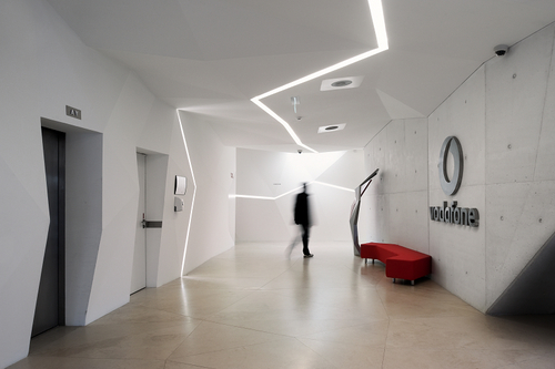 Design futuristic interior vodafone office design architecture