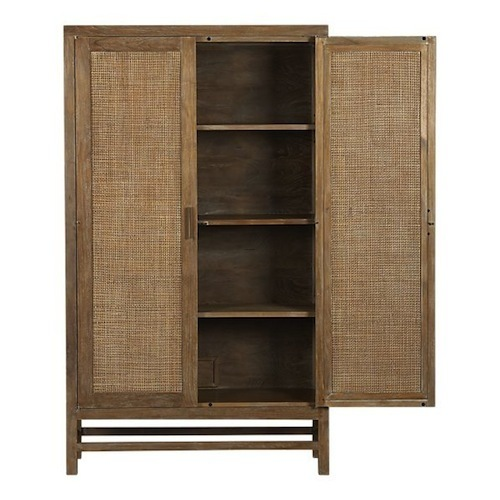Blake Grey Wash 2 Door Cabinet, The Blake Grey Wash 2-Door Cabinet Is Made Of Rattan And Teak