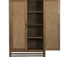 The Blake Grey Wash 2-Door Cabinet Is Made Of Rattan And Teak