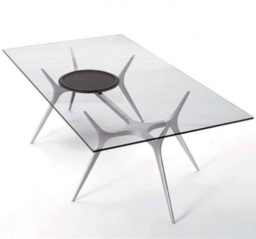 Rectangular Glass Top Dining Tabe, Glass Top Dining Table With Spider Legs