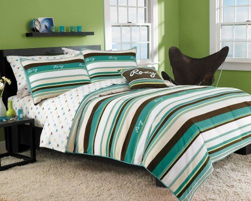Roxy Brown Blue Stripe Teen Girls Comforters Set 200tc