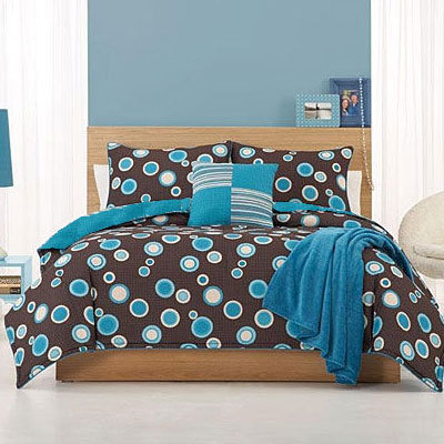 Blue and brown bedding