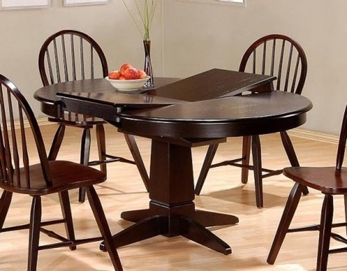 Dinner Table Design, Furniture, Dining Table w/Butterfly Leaf, Cappuccino Finish Wood