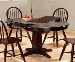 Furniture, Dining Table w/Butterfly Leaf, Cappuccino Finish Wood