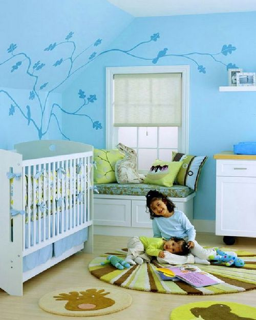 Wall Decorating Ideas For Kids, stunning blue wall decorating ideas for kids rooms