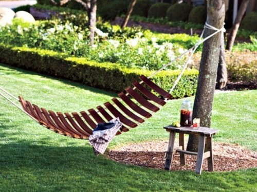 Contemporary Garden Furniture, Hammock, Table And Swing Made Of Old Wine Barrels