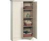 Antique White Bathroom / Laundry Room / Bedroom Linen Storage Organizer Cabinet / Armoire