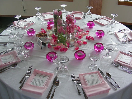 Elegant Table Settings For Weddings, White and Pink Table Setting with Centerpiece Details