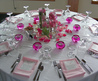 White and Pink Table Setting with Centerpiece Details 