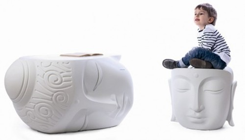 Contemporary Garden Furniture, Relaxing Buddha Head Table And Pouf