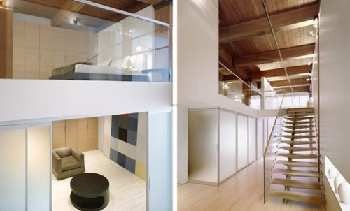 Loft With Glass Design, Modern glass and wooden loft design