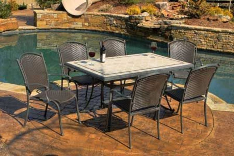 Outdoor Wicker Patio Chairs, Tuscan Lorne 7 Piece Tile and Resin Wicker Outdoor Patio Set