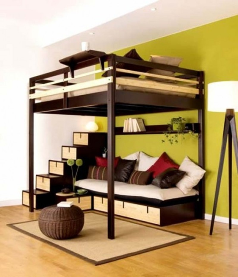 Small Loft Bedroom Ideas, Loft Bed Contemporary Bedroom Design for Small Space by Espace Loggia