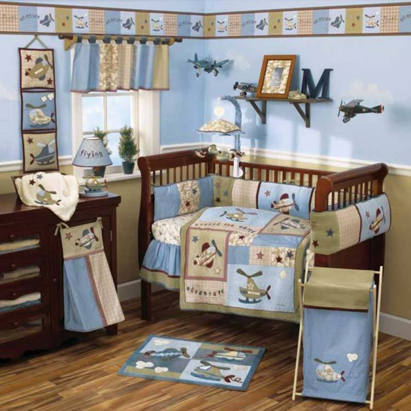 Baby nursery bedding sets themes and ideas airplane baby for Aviation decoration ideas