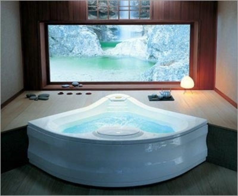 Jacuzzi g930 fiore whirlpool bath with removable skirt for Bathroom ideas jacuzzi