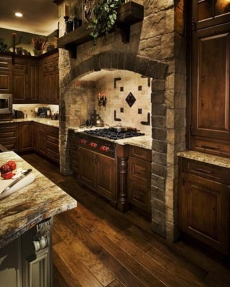 mediavel castle and stone range hood old word kitchen