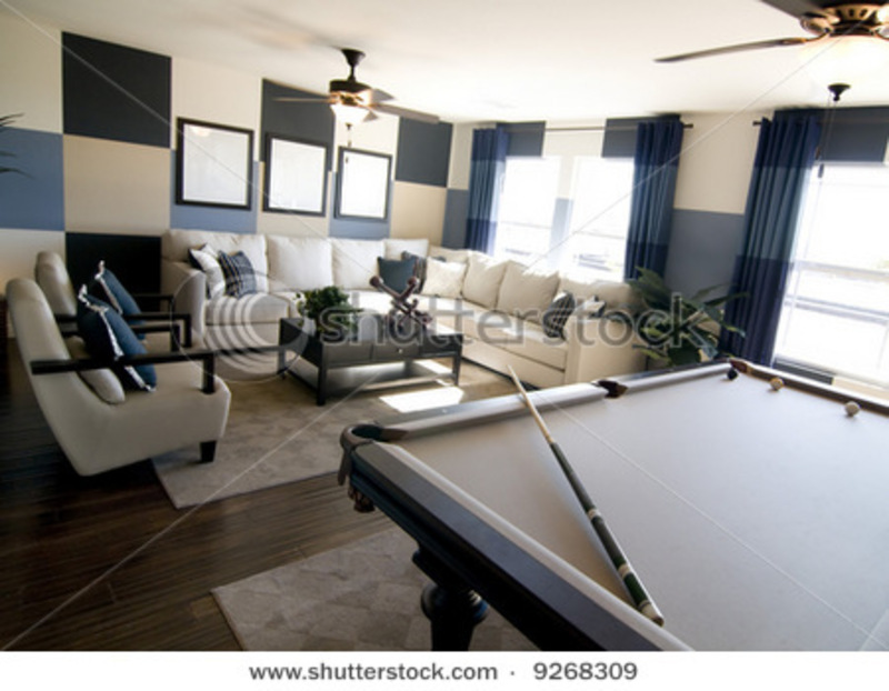Modern Game Room, Stylish Modern Luxury Game Room Interior Design With Pool Table In Foreground. Stock Photo 9268309 : Shutterstock